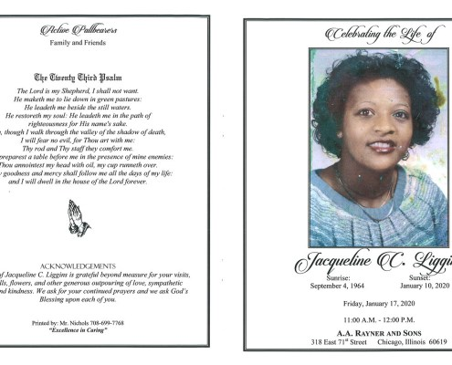 Jacqueline C Liggins Obituary