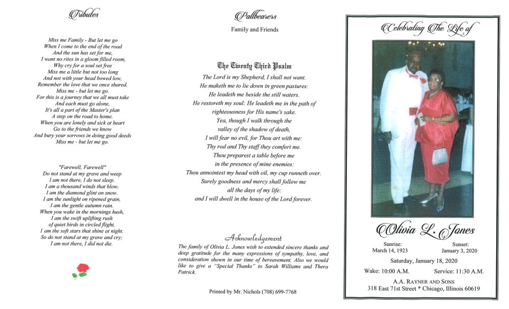 Olivia L Jones Obituary