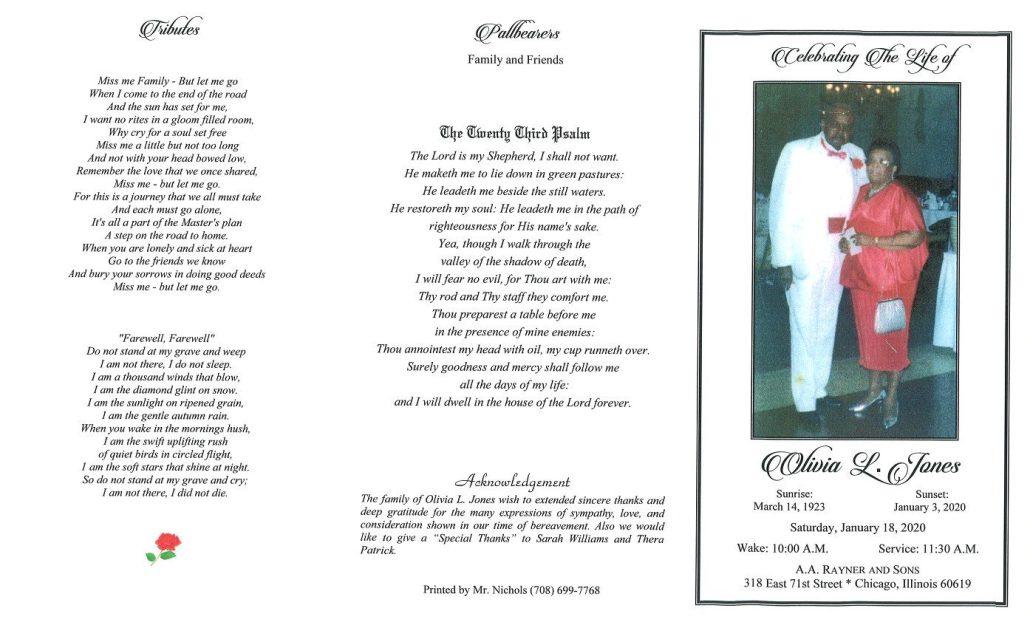 Olivia L Jones Obituary
