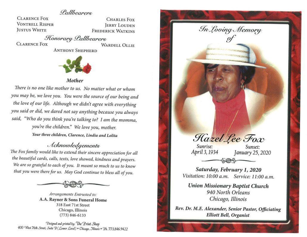 Hazel L Fox Obituary