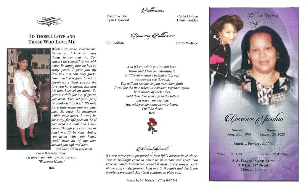 Desiree Jordan Obituary