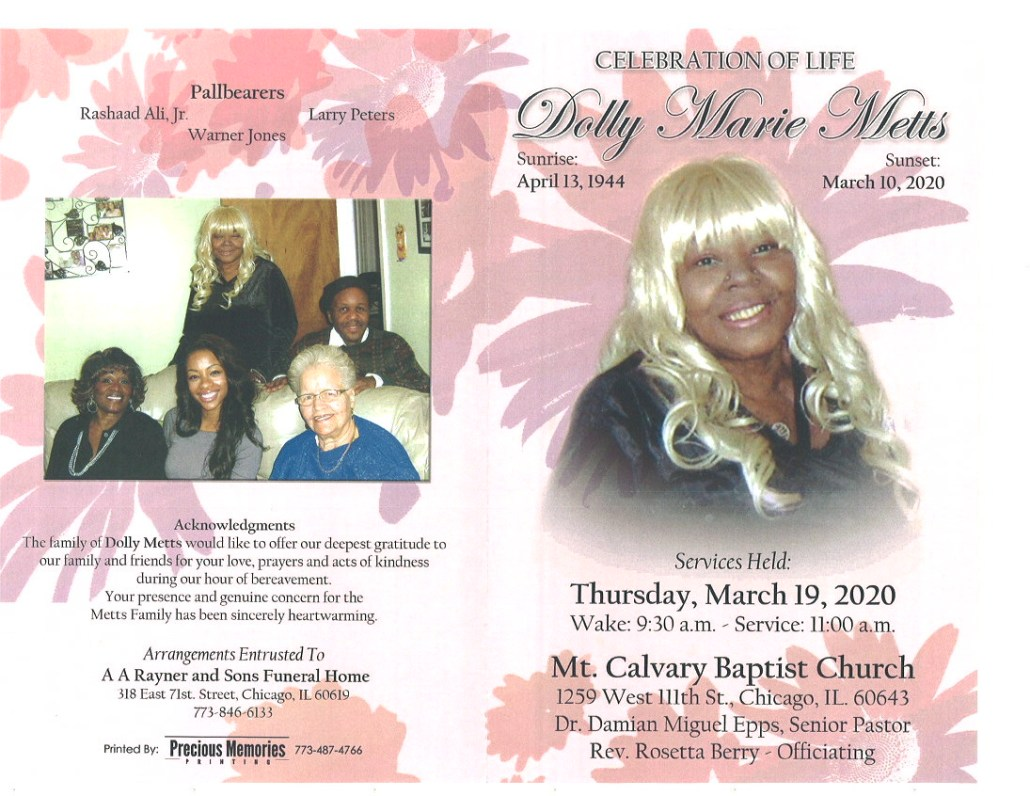 Dolly Marie Metts Obituary