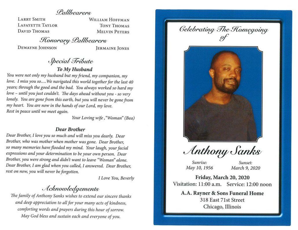Anthony Sanks Obituary