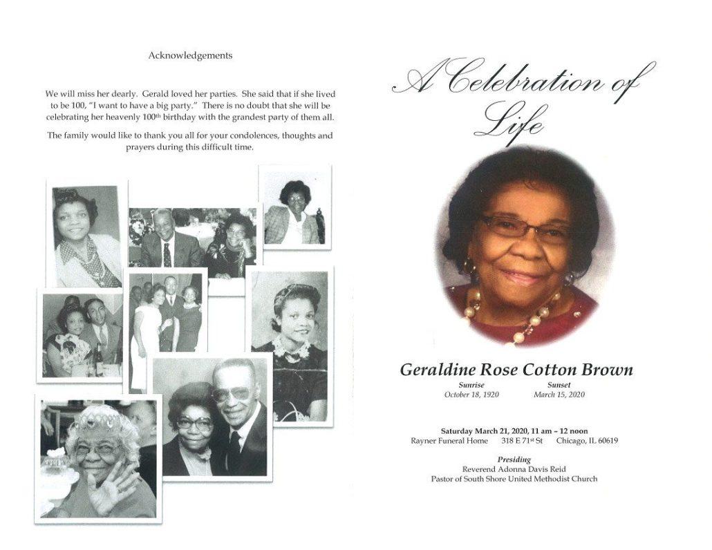 Geraldine Brown Obituary