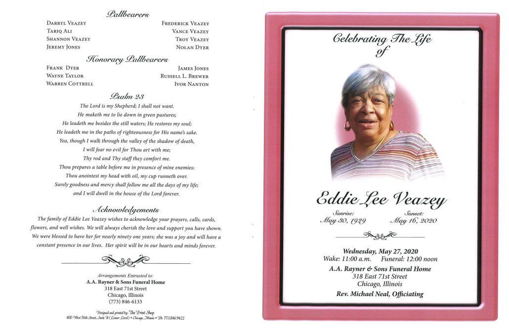 Eddie L Veazey Obituary