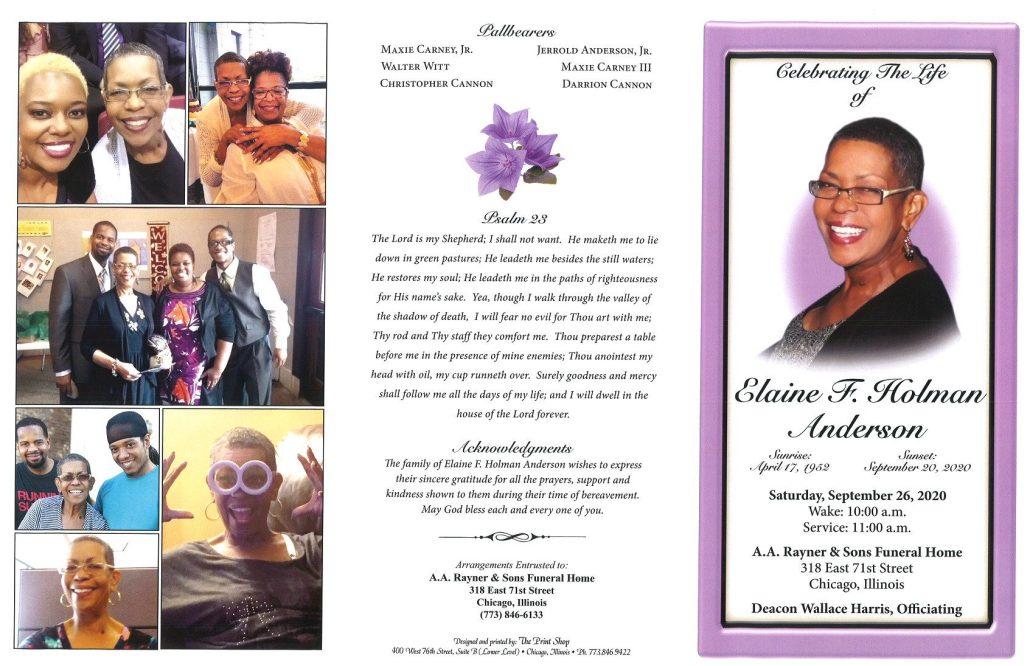 Elaine F Holman Anderson Obituary