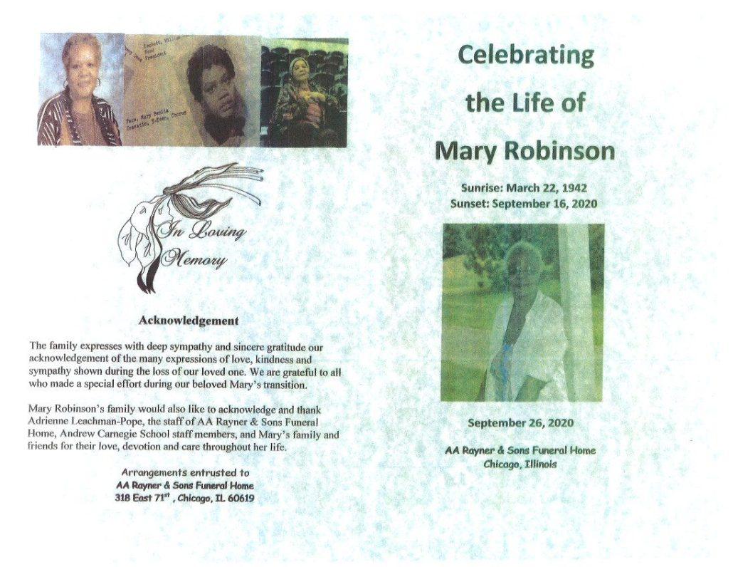 Mary Robinson Obituary
