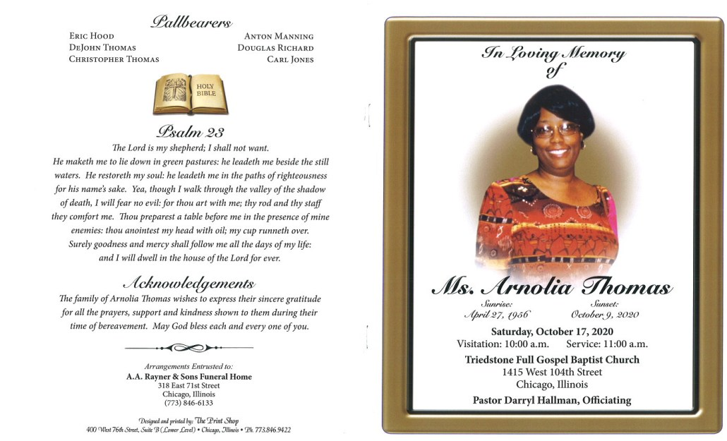 Arnolia Thomas Obituary