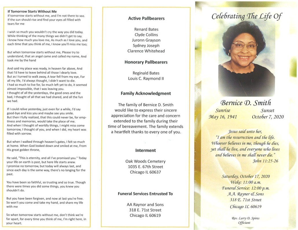 Bernice D Smith Obituary