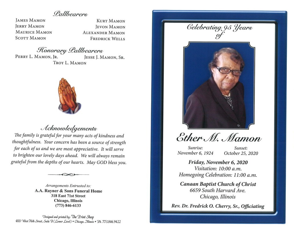 Ether M Mamon Obituary