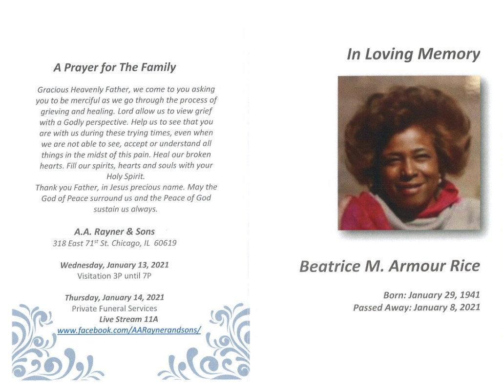 Beatrice M Armour Rice Obituary