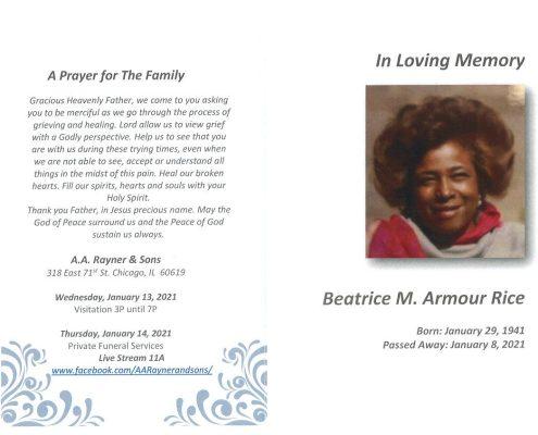 Beatrice M Armour Rice Obituary