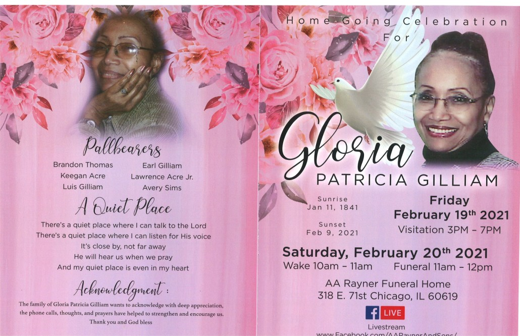 Gloria P Gilliam Obituary