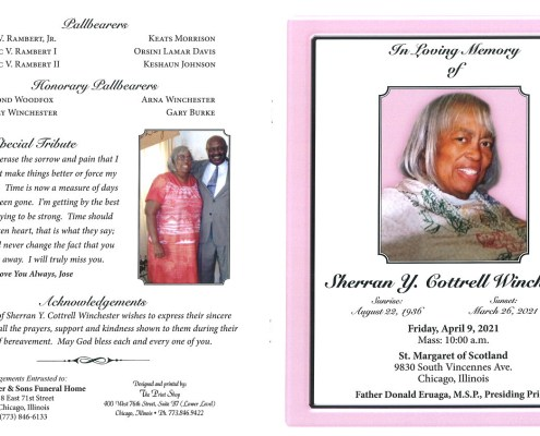 Sherran Y Cottrell Winchester Obituary