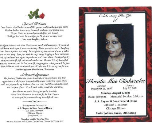 Florida M Clinkscales Obituary