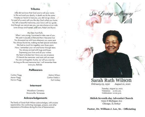 Sarah Ruth Wilson Obituary