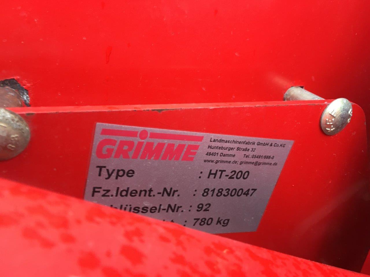 Grimme Varitron 2011 HT 200 typeplaatje