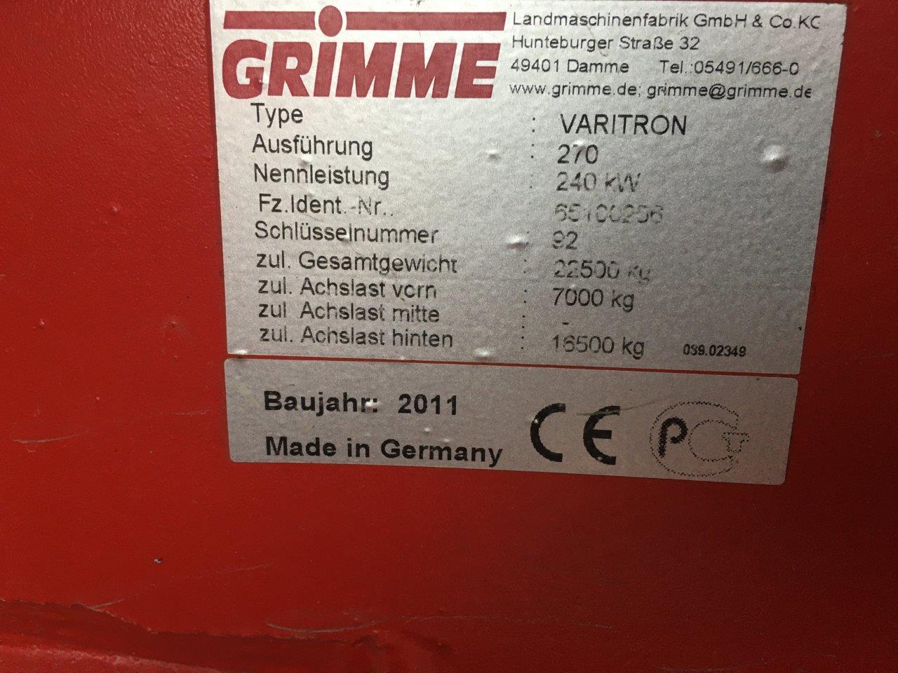 Grimme Varitron 2011 typeplaatje