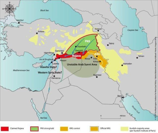 De Rojava corridor richting Middellandse Zee