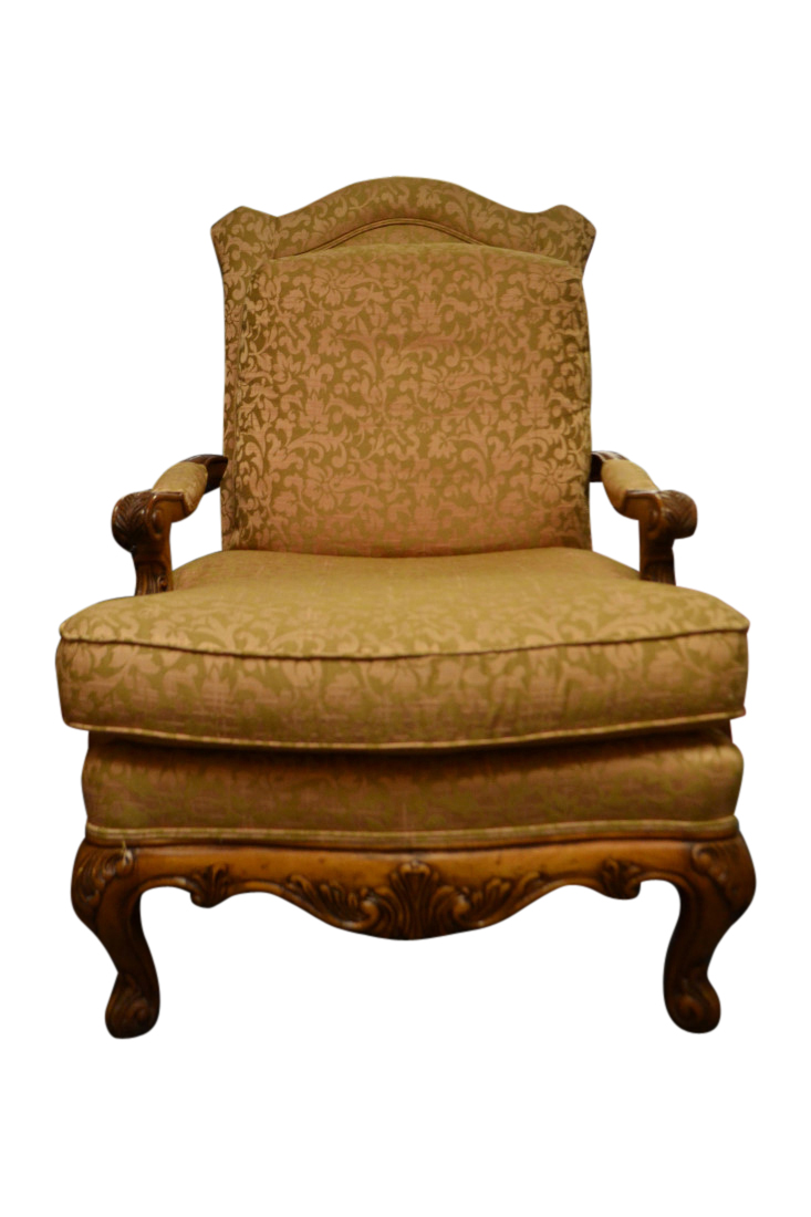 Henredon Chair Henredon Upholstered Armchair French Provincial Style Peach And Tan 44