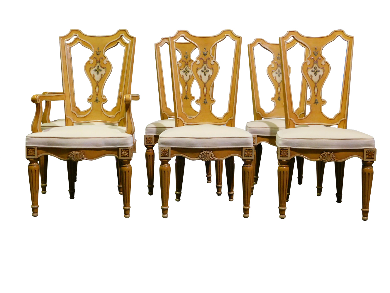 Henredon Chair Set Of 6 Henredon Dining Chairs Fiddle Back Muted Gold Pa5247dc