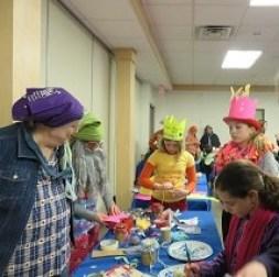 Making Purim crafts