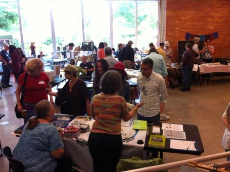 Despite periodic torrential rain, Matthaei Botanical Gardens was a beautiful place to be on June 14 for the Farm Education and Sustainable Food Fest. Marcy Epstein, Carol Lessure and Idelle Hammond-Sass talked to many people at the AARC table.
