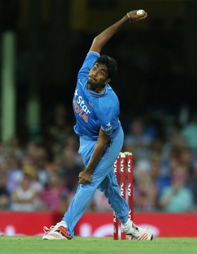 Jasprit Bumrah of India bowls during the third Twenty20 international cricket match between India and Australia in Sydney on January 31, 2016. AFP PHOTO / CRAIG GOLDING -- IMAGE RESTRICTED TO EDITORIAL USE - STRICTLY NO COMMERCIAL USE / AFP / CRAIG GOLDING (Photo credit should read CRAIG GOLDING/AFP/Getty Images)