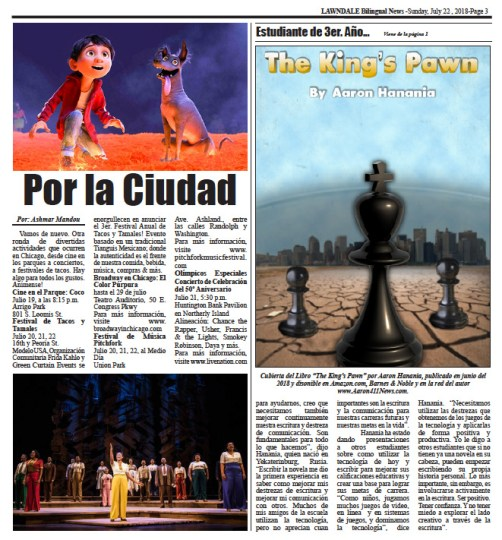 Lawndale News Newspaper, story on The King's Pawn published July 19, 2018 in English.