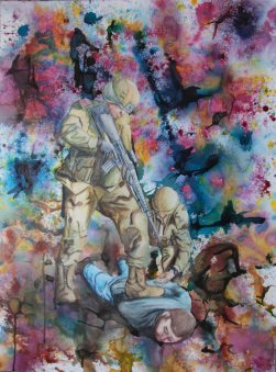 Stand Over Men, 2010, water color paints and pencils on high Gsm Paper, By Aaron O'Brien. For Sale