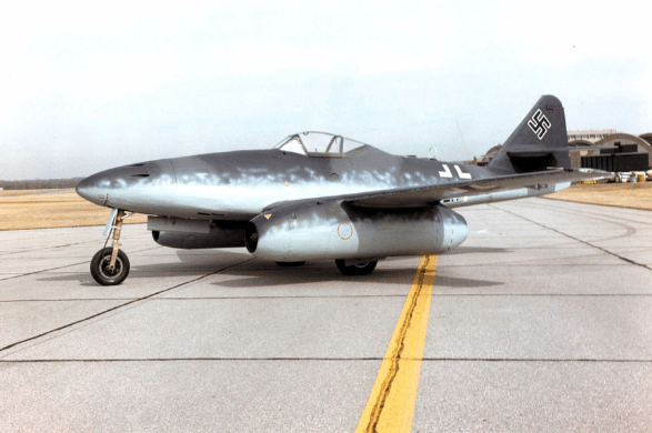 War novels - Color photograph of Messerschmidt 262 jet- Aaron David Yeoman, author