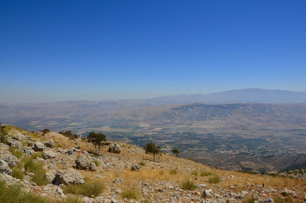 Color photograph of the Bekaa Valley - a wide, arid valley with mountains in the distance.Prequel to Eleventh Hour Covenant