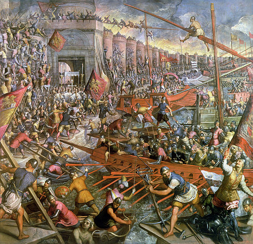 Color painting of Muslim forces attacking Constantinople by sea in galleys with the walls of Constantinople in the background.