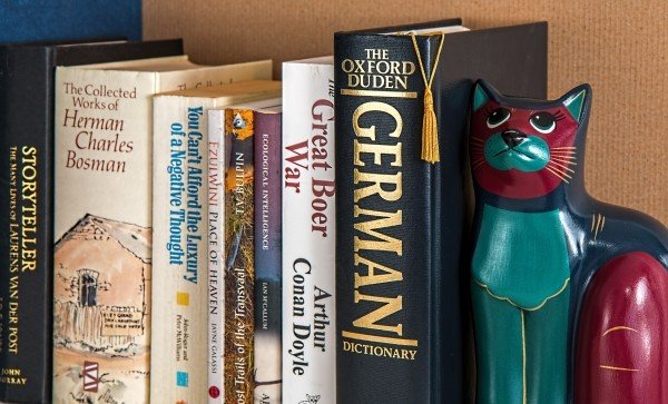 colored photograph of 7 books on a shelf with a blue, navy and maroon cat figure bookend. Sven or Sajer.