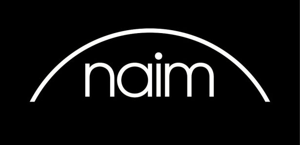 "Black and white graphic of logo white lower case word ""naim"" with a white arc above it. Black background. Ken Ishiwata."
