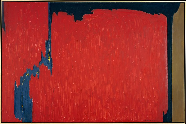 Clyfford Still (American, 1904–1980) Untitled, 1950 Oil on canvas; 112 x 169 1/4in. (284.5 x 429.9cm) The Metropolitan Museum of Art, New York, Gift of Mrs. Clyfford Still, 1986 (1986.441.6) http://www.metmuseum.org/Collections/search-the-collections/484685
