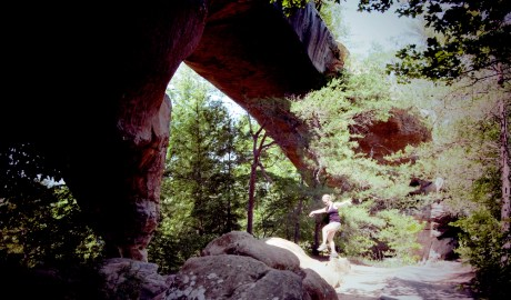 The Crane Kick Under an Arch Rock