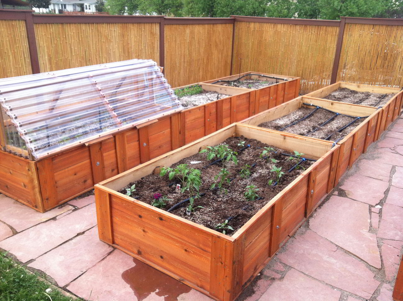 Raised Bed Garden And Attached Cold Frame With Drip Irrigation And Flagstone Pathways