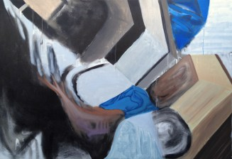 Catch-22. Acrylic and oil on canvas. 74″x 50.5″. 2014.