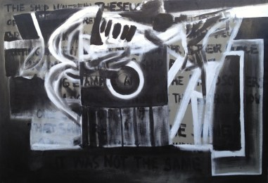 Paradox of Theseus's Ship. Acrylic and oil on canvas. 74″x 50.5″. 2014.
