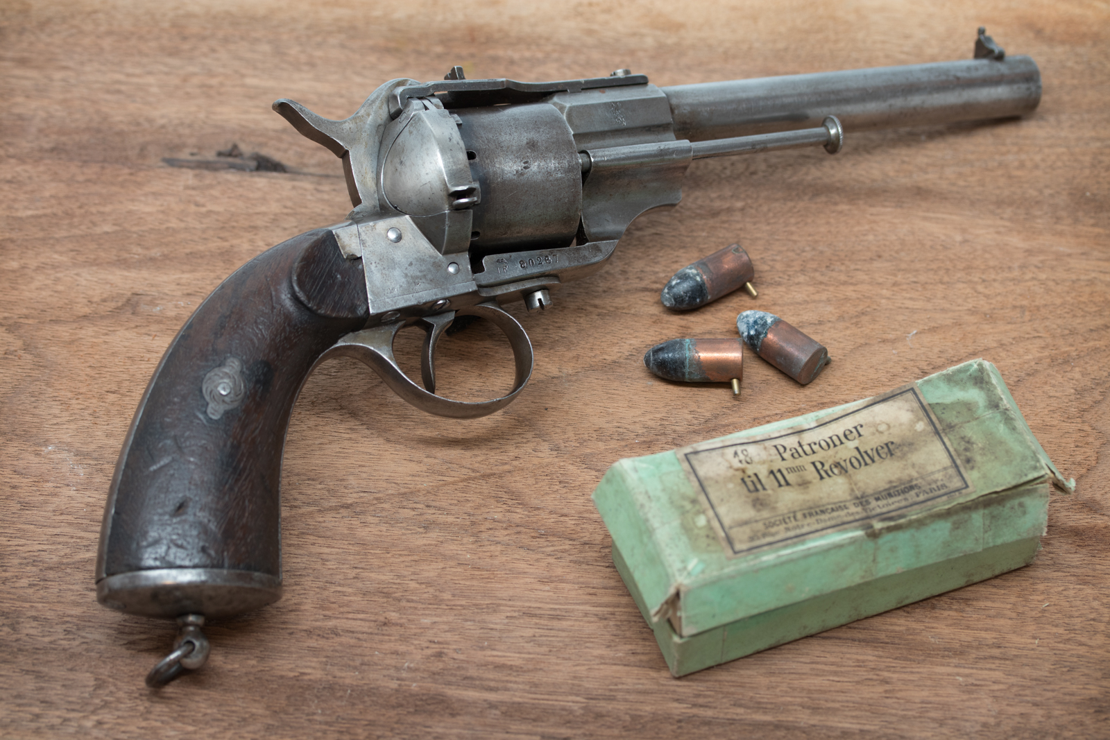 Norwegian M/64/98 Lefaucheux Pinfire Revolver with Military Cartridge Box