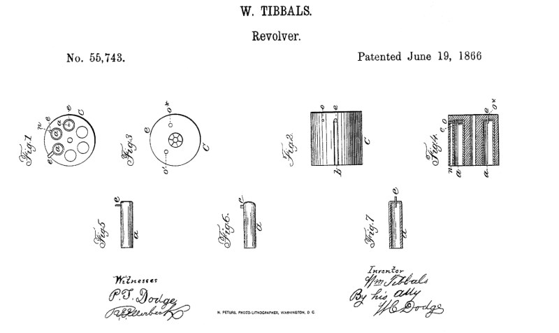 William Tibbals Pinfire Patent Drawing