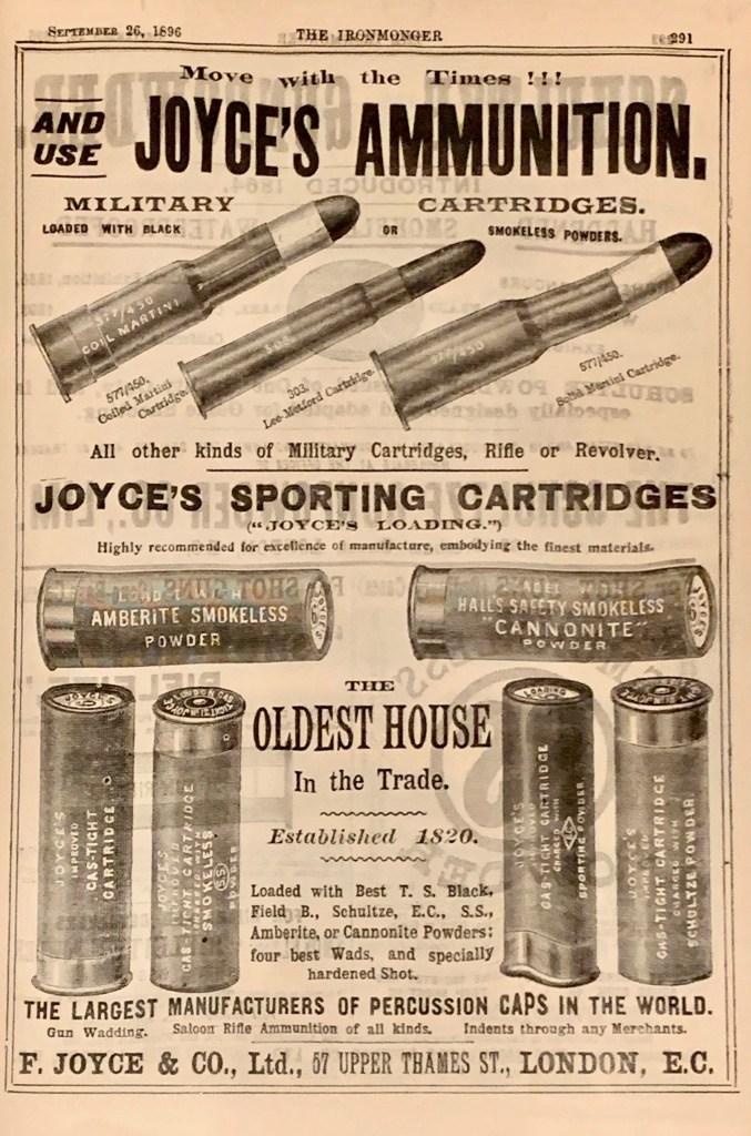 Joyce's Ammunition ad in The Ironmonger