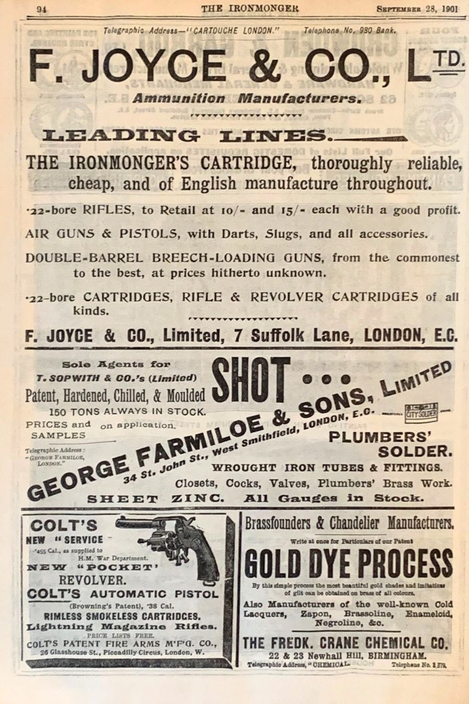 F. Joyce & Co and Colt and George Farmiloe & Sons ads in The Ironmonger