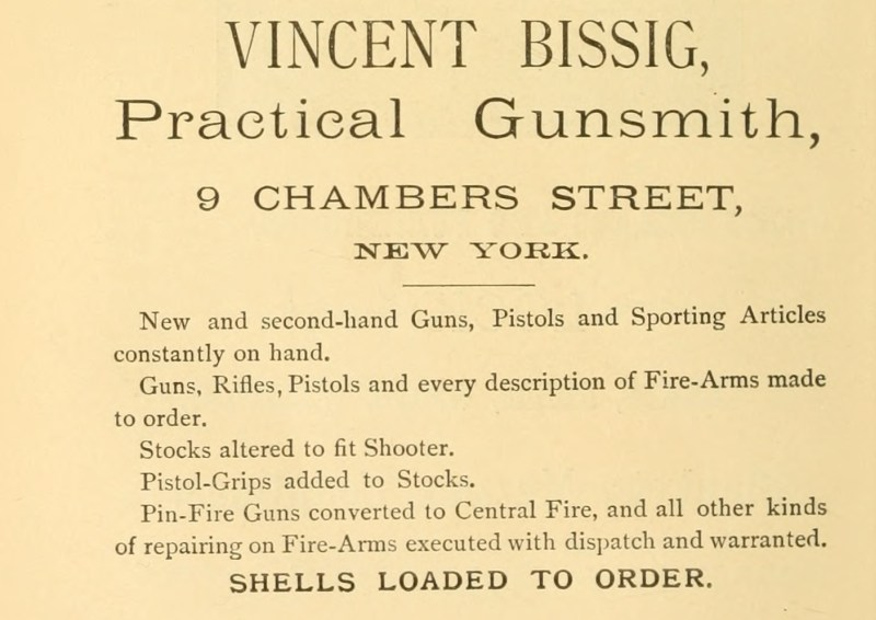 Vincent Bissig Pin-Fire guns converted 1887 ad