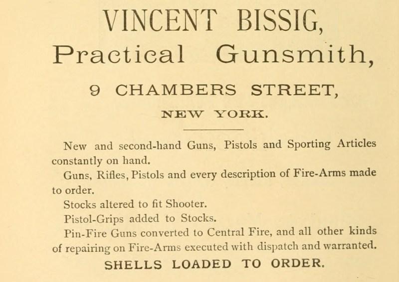 Vincent Bissig Pin-Fire guns converted 1887 ad