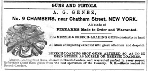 A. G. Genez, No. 9 Chambers, near Chatham Street 1870 ad