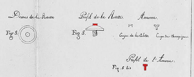 Portion of drawing from Plomdeur's 1825 patent showing his mushroom-shaped primers