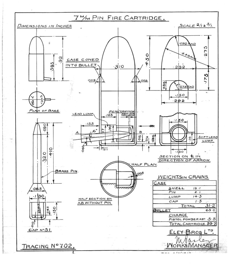 7mm Eley pinfire cartridge blueprint
