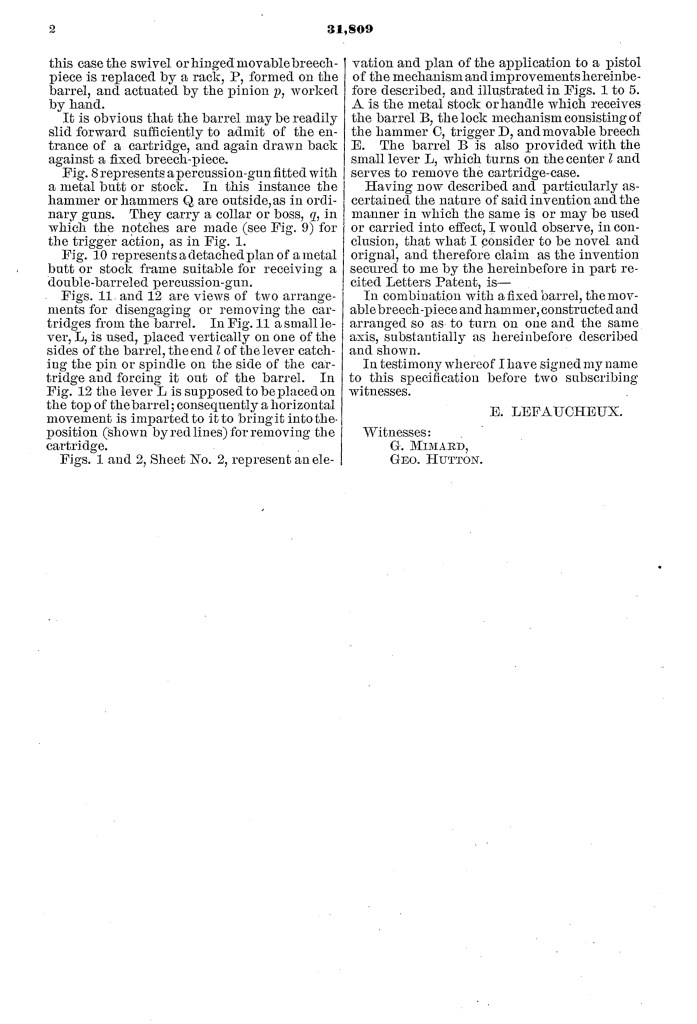 Eugène Lefaucheux US patent number 31,809 on 26 March 1861 - Page 2